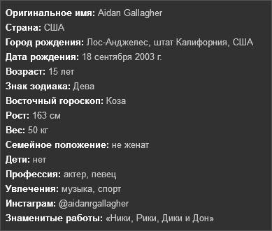 Информация о Эйдане Галлахере